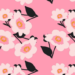 japanese flowers on pink