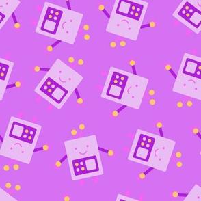 Purple Baby Robot Pattern - Large