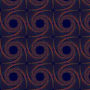 Floral swirl on dark blue