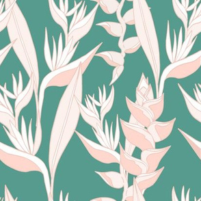 Heliconia paradise on teal