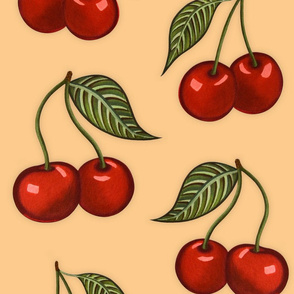 Cherry Pattern Peach Large