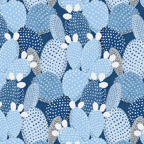polka dotted cacti classic blue - medium size