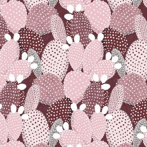 polka dotted cacti burgundy and rose - medium size