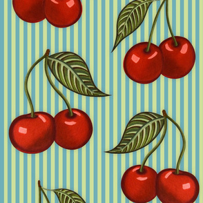 Cherry Pattern Stripes Blue Large