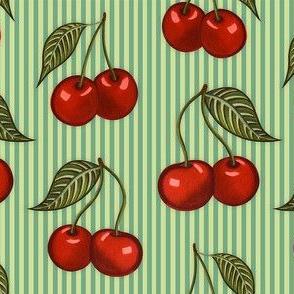 Cherry Pattern Stripes Green Small
