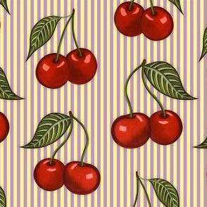 Cherry Pattern Stripes Purple Small