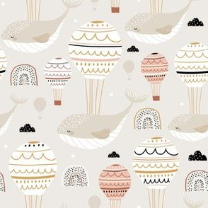 Whales with hot air balloons