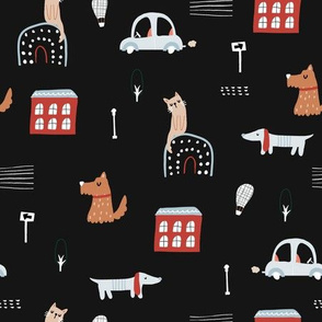 Creative city with houses, cars, pets