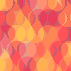 Abstract warm tone paisley drops