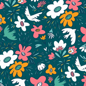 Spring birds and florals Night Large scale