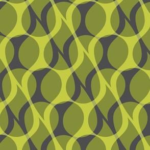 Green paisley drops on dark gray background