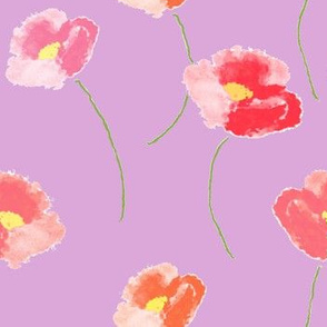 Poppies Dancing For Spring In Lilac