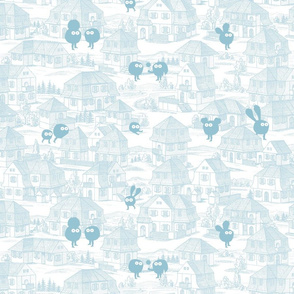 Toy Town Wallpaper (ligth blue)