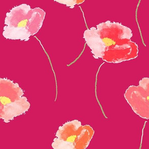 Poppies Dancing for Spring In Fuchsia