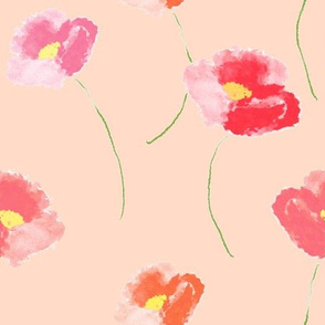 Poppies Dancing For Spring In Pink