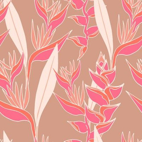 Heliconia paradise bright on mauve nude