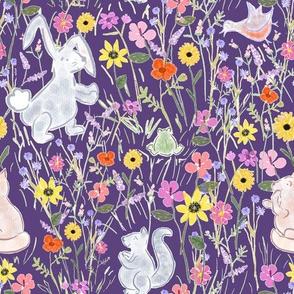 Spring Garden In Morning In Purple