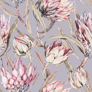 Watercolor Tropical Protea-048
