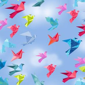 origami birds in flight clouds