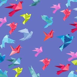 origami birds in flight periwinkle