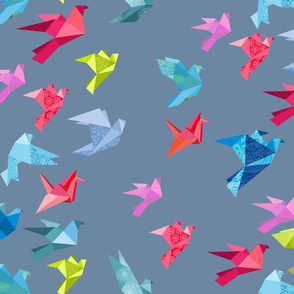 origami birds in flight gray