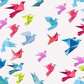 origami birds in flight white plain