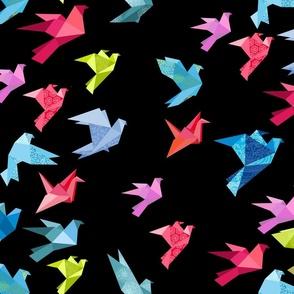 origami birds in flight black plain