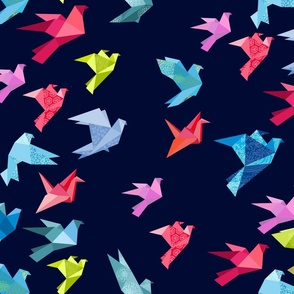origami birds in flight navy plain