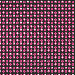 Disco Dot - Hot Pink & White on Black