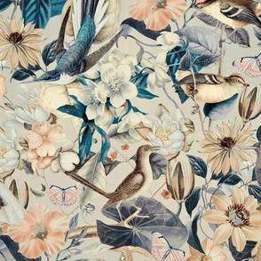 Vintage Flower Bird Cream Blue