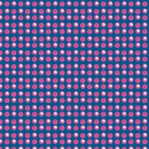 Disco Dot - Hot Pink & White  on Blue