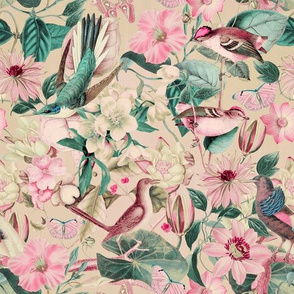 Vintage Flower Bird Pattern Teal Pink