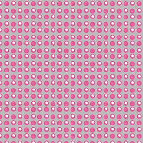 Disco Dots - Hot pink & white on grey