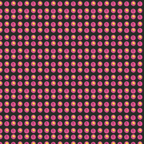 Disco Dots - Hot Pink & Yellow on  Black