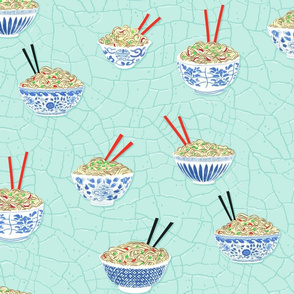 Blue and White Noodle Bowls