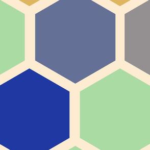 20-05v Jumbo Hexagon Mint Lilac Olive Blue Gold Slate quilt panel
