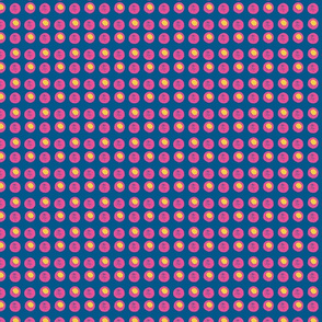 Disco Dots - Hot pink & yellow on blue