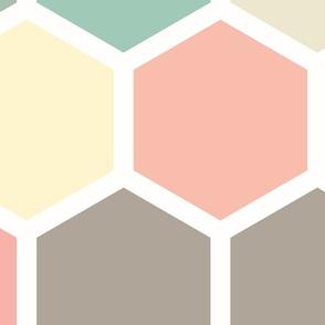 20-05u Jumbo Hexagon Pastel Yellow Taupe Peach Mint