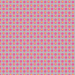 Disco Dots - Hot Pink & Yellow on Grey