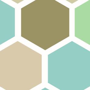 20-05s Jumbo Hexagon Green Tan Mint Tobacco