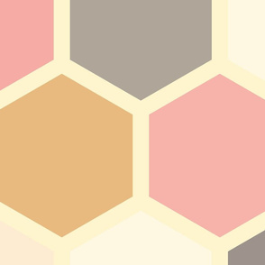 20-05r Jumbo Hexagon Blush Pink Gray Gold Cream