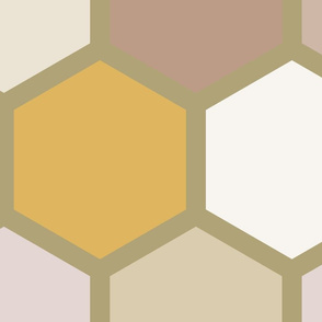 20-05q Jumbo Hexagon Autumn Fall Tan Yellow Gold Tan Taupe