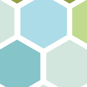 20-05o Jumbo Hexagon Blue Green Mint Olive