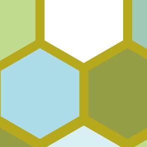 20-05n Jumbo Hexagon Olive Light Blue Mint