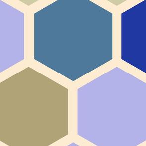 20-05m Jumbo Hexagon Lilac Purple Mint Cream Blue Tobacco