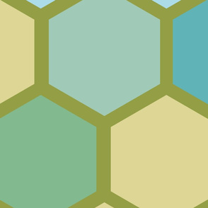 20-05l Jumbo Hexagon Quilt Panel Blue Olive Cream Mint Teal Yellow Gold