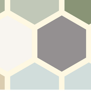20-05k Jumbo Hexagon gray tan blue slate forrest green