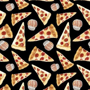 20-05h Pepperoni Pizza Cheese Food Black _ Miss Chiff Designs