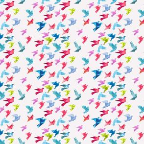 origami birds in flight white small