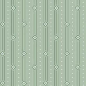 Powdery Green Summer Stripe: Dusty Forest Diamond Stripe, Thin Stripe